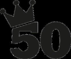50th Birthday Number Crown Sticker