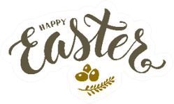 Happy Easter Lettering Illustration Sticker
