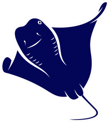 Stingray Logo Design Navy Blue Sticker