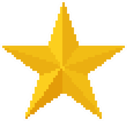 8 Bit Gold Star Sticker