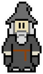8-Bit Wizard Pixel Art Sticker