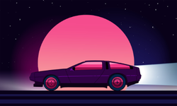 80s Style Sci-fi Car Sticker