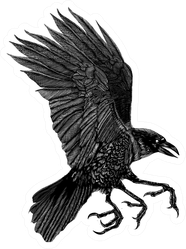 A Black And White Illustration Of A Three-legged Crow Sticker