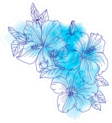 A Bouquet Of Tropical Hibiscus Flowers Sticker