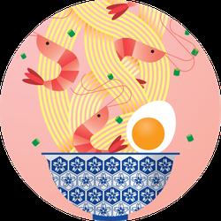 A Bowl Of Prawn/ Seafood Noodles Illustration Pink Sticker