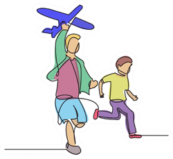 A Boy With An Airplane Drawn From Hand Sticker