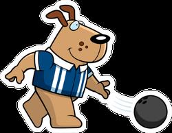 A Cartoon Illustration Of A Dog Bowling A Ball Sticker