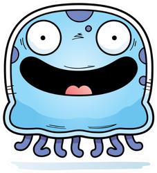 A Cartoon Illustration Of A Jellyfish Smiling Sticker