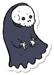 A Cartoon Spooky Ghoul Sticker