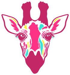 A Colorful Graphic Giraffe In Bright Pink Sticker
