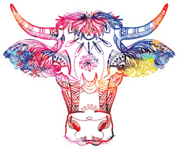 A Cow With Big Horns And Fluffy Ears Colorful Drawing Sticker