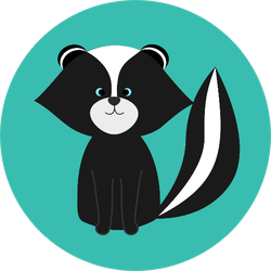 A Cute Cartoon Skunk Isolated On A Green Background Sticker