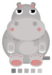 A Cute Grey Fat Hippo Illustration Sticker
