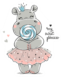 A Cute Hippo Princess In A Pink Dress Sticker