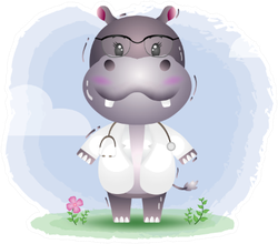 A Cute Little Doctor Hippo Sticker
