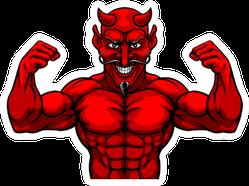 A Devil Satan Or Lucifer Strong Mascot Sticker