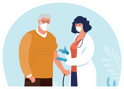 A Doctor In A Clinic Giving A Shot Illustration Sticker