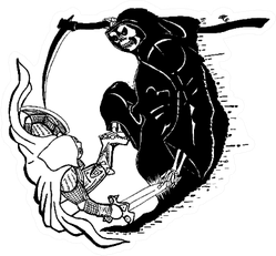 A Fight Between Death And Life Grim Reaper Sticker