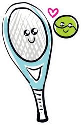 A Green Tennis Ball And Blue Racket Sticker