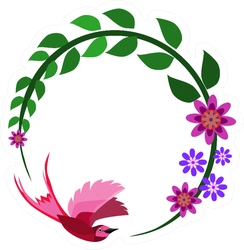 A Hummingbird Is Flying Over A CIrcle Floral Branch Sticker