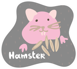 A Little Pink Hamster Eats Grain Sticker