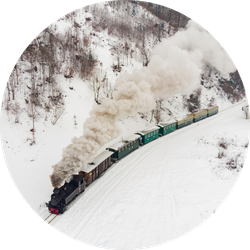 A Little Train, Steam Train In Snow Sticker