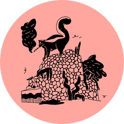 A Monochrome Funny Skunk On A Light Pink Sticker