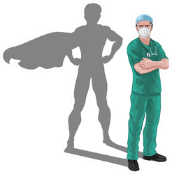 A Nurse Or Doctor Superhero Reflection Illustration Sticker