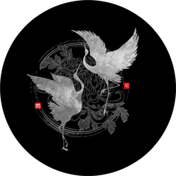 A Pair Of Dancing Cranes On Black Sticker