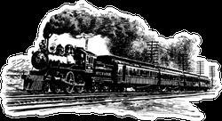 A Railroad Train Vintage Sketch Sticker