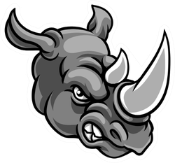 A Rhino Mean Angry Sports Mascot Sticker