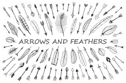 A Set Of Cute Arrows And Feathers Sticker