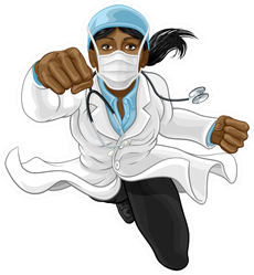 A Super Hero Woman Doctor Illustration Sticker