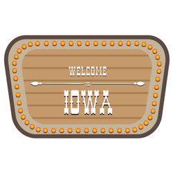 A Vintage Street Sign Is Welcome To Iowa Sticker