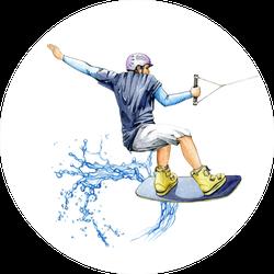 A Wakeboard Sportsman Watercolor Illustration Sticker