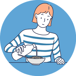 A Woman Pouring Milk On The Cereal Sticker
