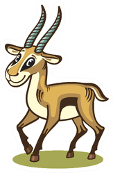 A Young Antelope Illustration Sticker