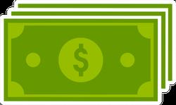 Green Dollar Bills Icon Sticker