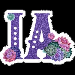 Abbreviation Of The State Of Iowa Purple Sparkle Sticker