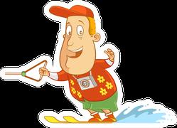 Abe The Tourist - Water Skiing Sticker