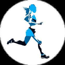 Abstract Blue Running Woman Sticker