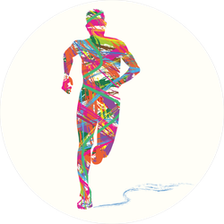 Abstract Colorful Silhouette Of Man Running Sticker