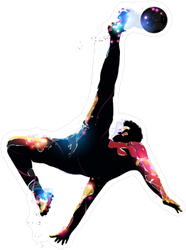 Abstract Colorful Soccer Player Over Head Kick Sticker