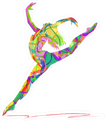 Abstract Dancing Girl Silhouette Sticker