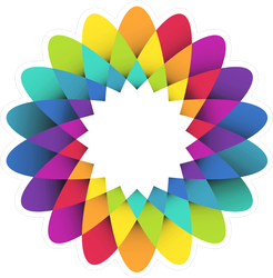 Abstract Geometric Rainbow Flower Sticker