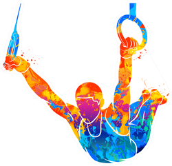 Abstract Gymnast On Rings Sticker