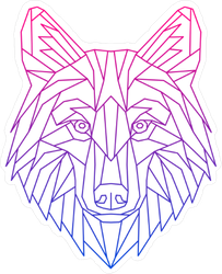 Abstract Low Poly Wolf Sticker