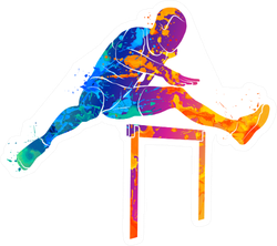 Abstract Man Jumping Over Hurdles From Splash Of Watercolors Sticker
