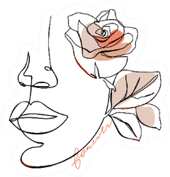"""Abstract One Line Woman Face With Rose Flower """"Forever"""" Sticker"""