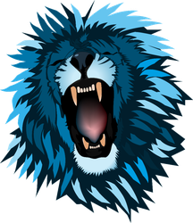 Abstract Roaring  Blue Lion Sticker